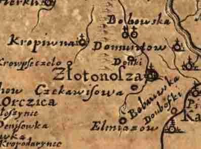 Золотоноша на карте Боплана 1648 год