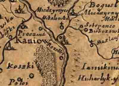 Канев на карте Боплана 1648 год