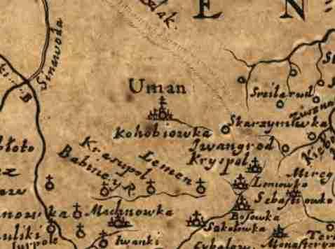 Умань на карте Боплана