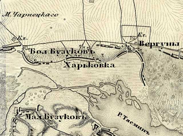 Бузуков на трехверстовой карте Шуберта