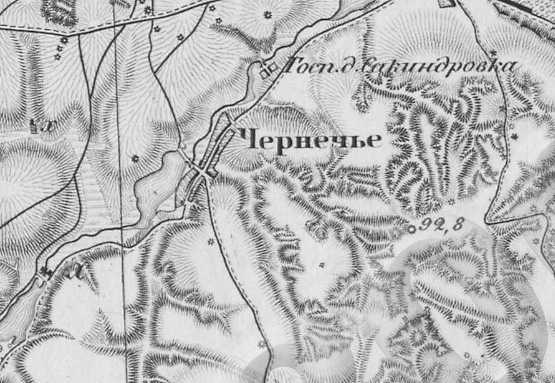 Чернечье на трехверстовой карте Шуберта