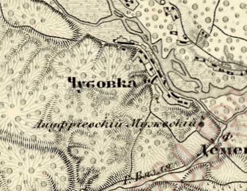 Чубовка на трехверстовой карте Шуберта