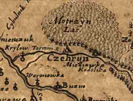Чигирин на карте Боплана 1648 год