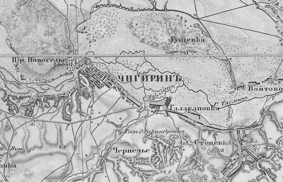 Чигирин на трехверстовой карте Шуберта