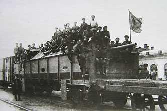 Бронепоезд отбитый частями Красной Армии у григорьевцев под Черкассами. 16 мая 1919 г.