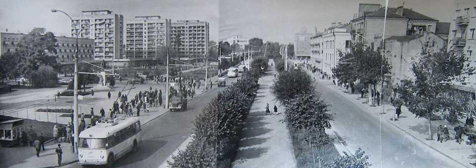Вид на центральную часть города и ул. Шевченко после реконструкции 1973 г.