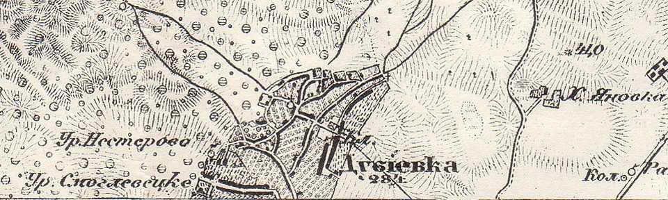 Дубиевка на трехверстовой карте Шуберта