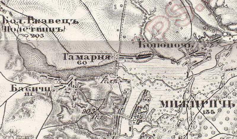 Гамарня на трехверстовой карте Шуберта