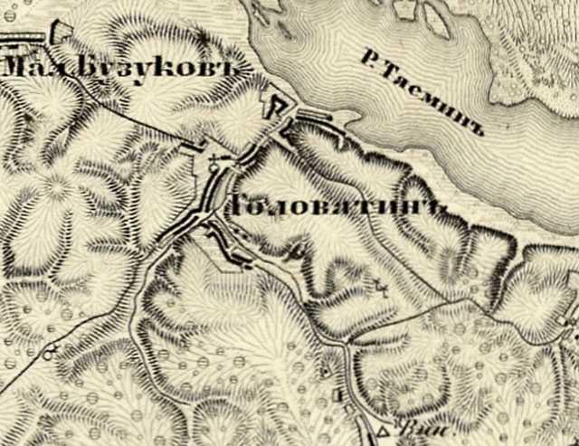 Головятино на трехверстовой карте Шуберта