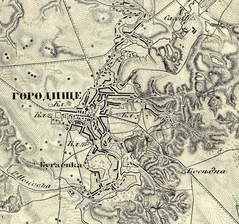 Городище на трехверстовой карте Шуберта