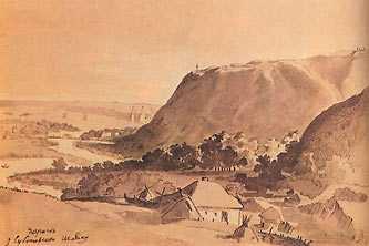 Вид на Чигирин с Суботовского пути. Рисунок Т.Г. Шевченко 1845г.