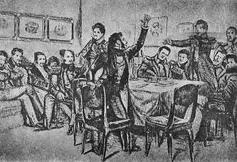 Пушкин среди декабристов в Каменке. Рисунок Д. Кардовского.