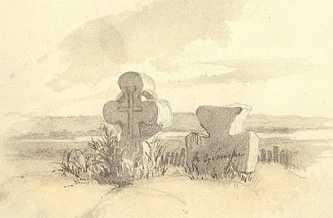 Каменные кресты в Субботове. Сепия. IV — X 1845. Т.Г. Шевченко