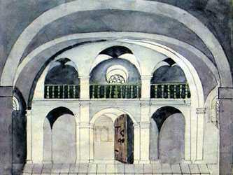 Ильинская церковь, хоры. Рисунок Де ля Флиза, ориентировочно 1850-е.