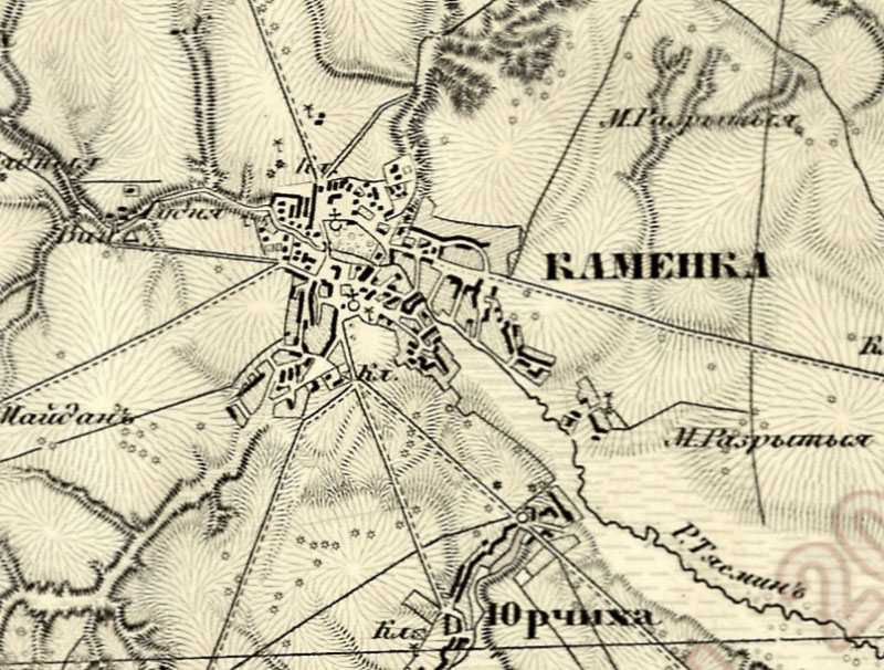 Каменка на трехверстовой карте Шуберта