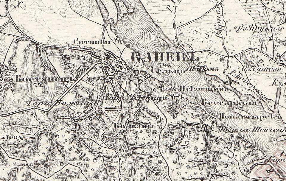 Канев на трехверстовой карте Шуберта