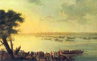 «Отправление Екатерины II из Канева в 1787 году». Полотно, масло, Иоган Готлиб Плешь, 1787