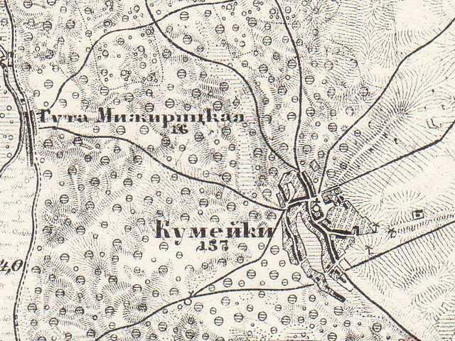 Кумейки на трехверстовой карте Шуберта