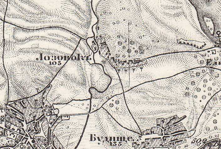 Лозовок на трехверстовой карте Шуберта