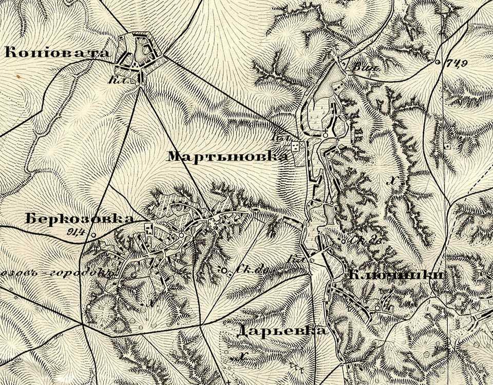 Мартыновка на трехверстовой карте Шуберта