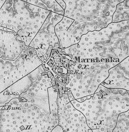 Матвеевка на трехверстовой карте Шуберта