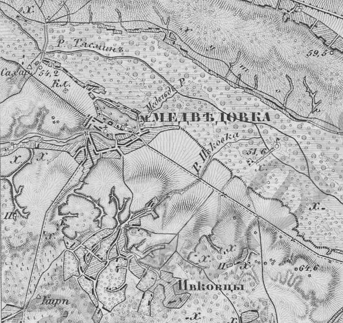 Медведовка на трехверстовой карте Шуберта