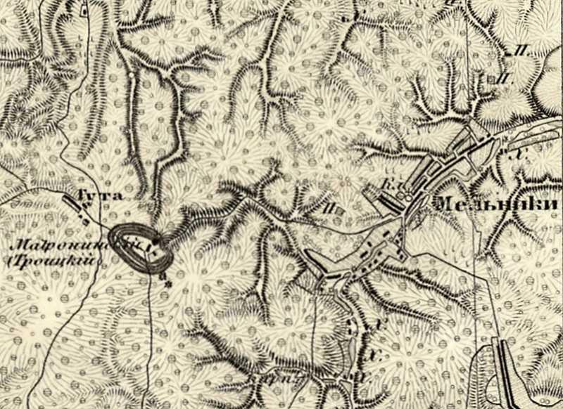 Мельники на трехверстовой карте Шуберта