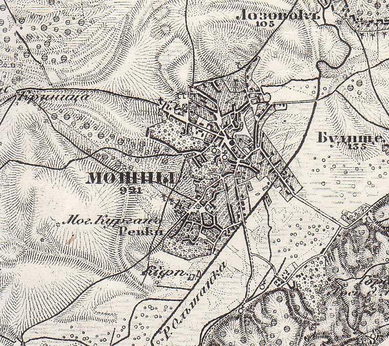 Мошны на трехверстовой карте Шуберта