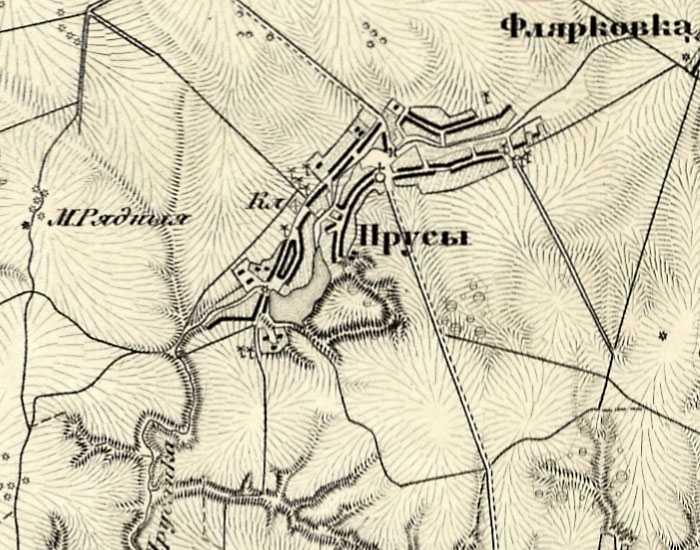 Михайловка (Прусы) на трехверстовой карте Шуберта