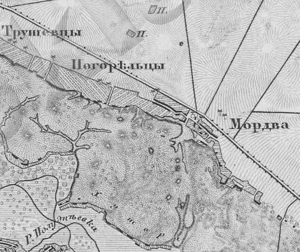 Погорельцы на трехверстовой карте Шуберта