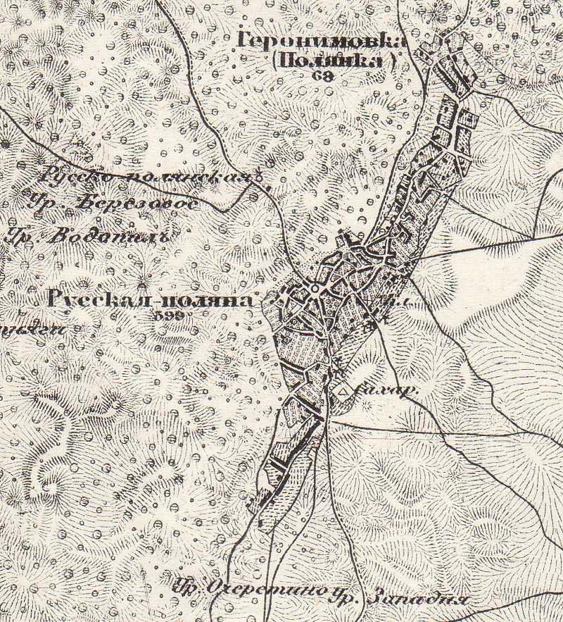 Русская Поляна на трехверстовой карте Шуберта
