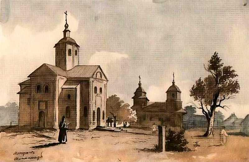 Мотронинский монастырь. Т.Г.Шевченко. Акварель, 1845 год.