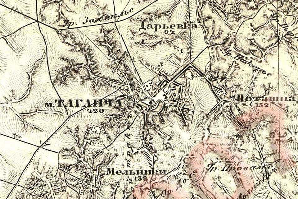 Таганча на трехверстовой карте Шуберта