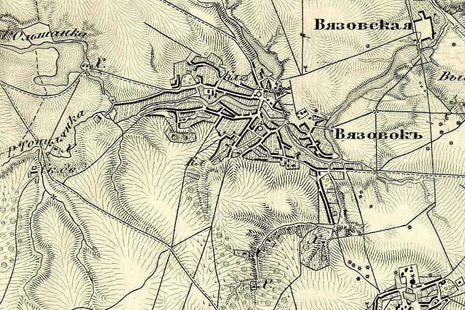 Вязовок на трехверстовой карте Шуберта